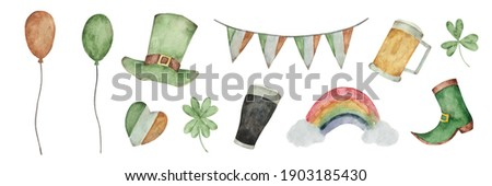 Green Orange Balloons Shamrocks Irish St Patricks Hat Transparen Stock photo © limbi007