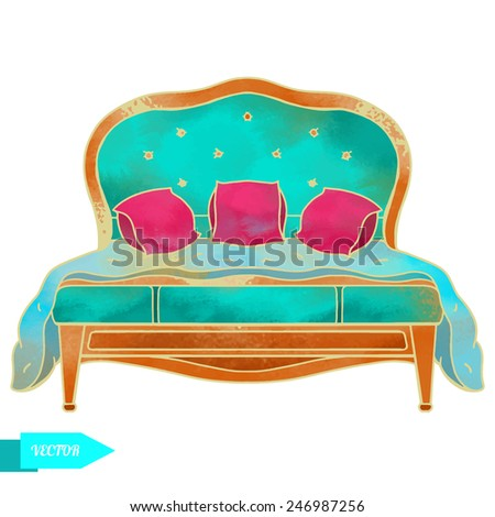 classic bedroom vector watercolor white bed furniture interior stock photo © frimufilms
