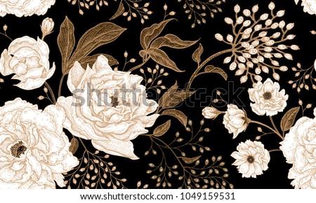 Luxus végtelenített grafikus virágok levelek virágmintás Stock fotó © brahmapootra