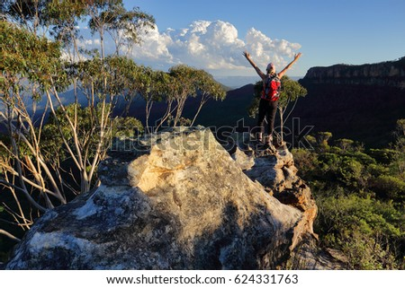 Woman feelings of exhilaration hiking in Blue Mountains Australia Stock photo © lovleah