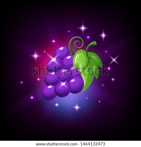 Purple grapes bunch with green leaf and sparkles, slot icon for online casino or logo for mobile gam Stock photo © MarySan