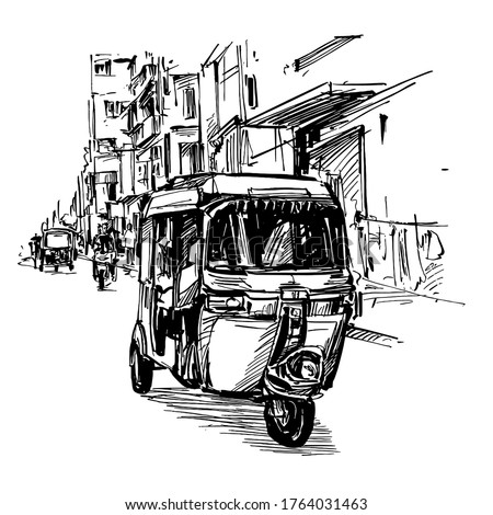 motor rickshaw tuk-tuk indian taxi transport vector illustration Stock photo © konturvid