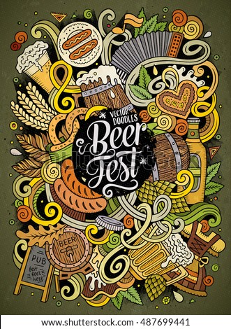 Cartoon doodles Beer fest illustration. Oktoberfest funny picture Stock photo © balabolka