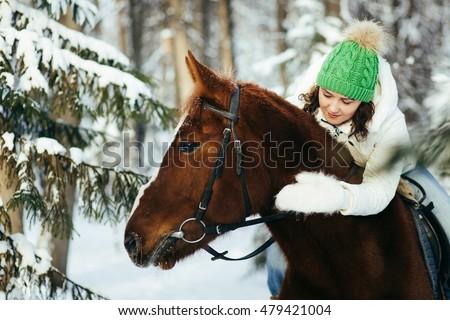 Fiatal nő ló téli sport divat sport természet Stock fotó © Lopolo