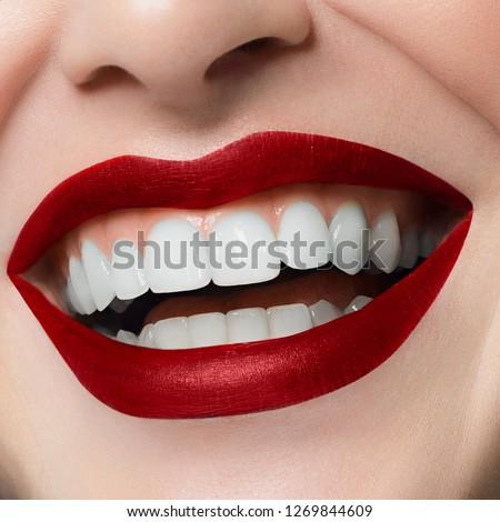 Makro mutlu gülümseme sağlıklı beyaz makyaj Stok fotoğraf © serdechny