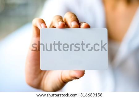 üzletasszony tart üres kártya iroda digitális kompozit természet Stock fotó © wavebreak_media