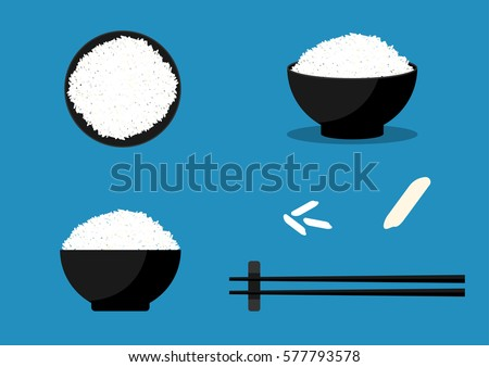 black bowl with boiled organic basmati vegetable rice with black chopsticks on placemat with linen t stock photo © denismart