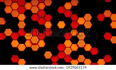 Orange and Black Embossed Spaced-out Hexagon Background Vector I Stock photo © cidepix