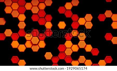 Oranje zwarte zeshoek vector textuur licht Stockfoto © cidepix