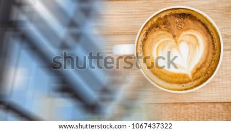 Koffiekopje hartvorm schuim venster overgang Stockfoto © wavebreak_media