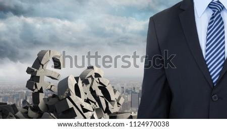 Gebroken beton steen geld symbool zakenman Stockfoto © wavebreak_media