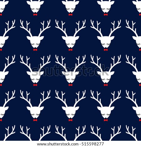 Seamless pattern with deer head with antlers on dark blue background. Stock photo © inkoly