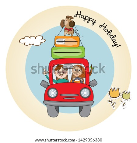 happy couple with their dog traveling with funny red car. Summer Stock photo © balasoiu