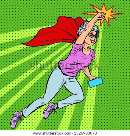 Woman grandmother superhero flying active strong pensioner elderly lady Stock photo © studiostoks