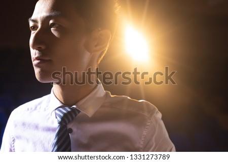 Asiático empresário em pé etapa auditório Foto stock © wavebreak_media