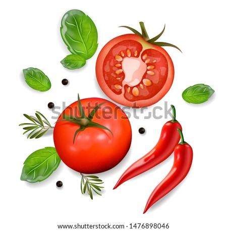 томатный Chili изолированный вектора 3d иллюстрации белый Сток-фото © frimufilms