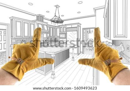 Férfi beszállító kezek vám konyha terv Stock fotó © feverpitch