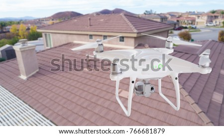 Unmanned Aircraft Quadcopter Drone Flying and Inspecting Constru Stock photo © feverpitch