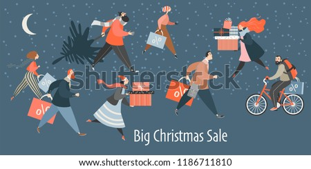 Young boy with purchases in new year shop. Christmas sale, black friday Stock photo © galitskaya