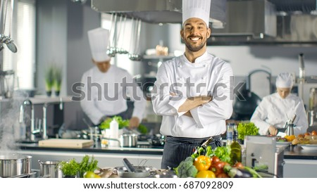 Chef team. Happy professional cooks cooking in the kitchen. Vector illustration Stock photo © Imaagio
