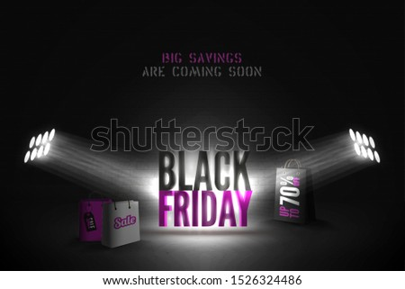 Shopping Bag with Black Friday Text Spotlighted on Black Background Stock photo © make