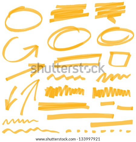 Marker lines. Vector highlighter brush lines. Hand drawing. Vector illustration Stock photo © olehsvetiukha