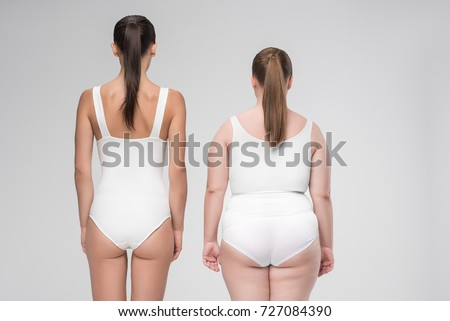 Two women thick and thin women with different figures. Fat lose, Before and After slimming. Girls wi Stock photo © wywenka