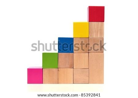 Lépcsősor tarka fa játék kockák izolált fehér Stock fotó © Melnyk
