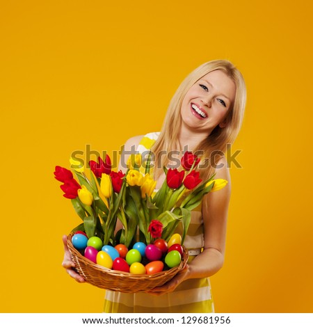 Young woman with colorful eggs  Stock photo © choreograph