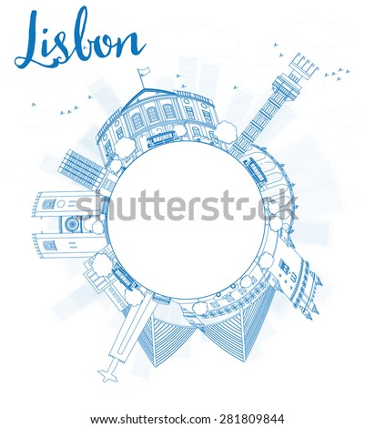 Schets Lissabon Blauw gebouwen exemplaar ruimte Stockfoto © ShustrikS