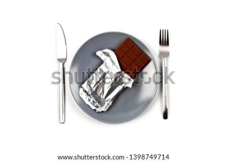çikolata gri seramik plaka yalıtılmış beyaz Stok fotoğraf © marylooo