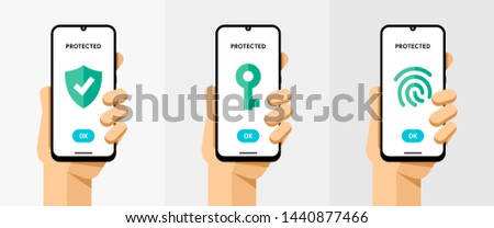 Smartphone mockup with protection type protocole. Finger print secure. Vector colorful technology il Stock photo © karetniy
