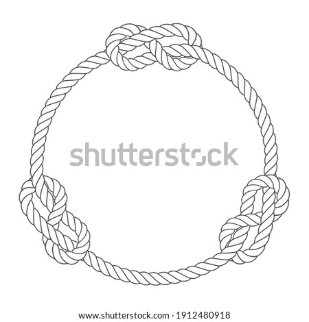 Rope circle frame with knots, simple style line rope, marine bor Stock photo © gomixer