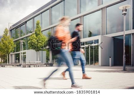 Zamazany sylwetka studentów zajęty uczelni kampus Zdjęcia stock © Kzenon