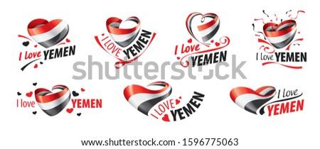 Bandeira Iémen amor coração fundo Foto stock © butenkow