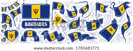 Vector set of the national flag of Barbados in various creative designs Stock photo © butenkow