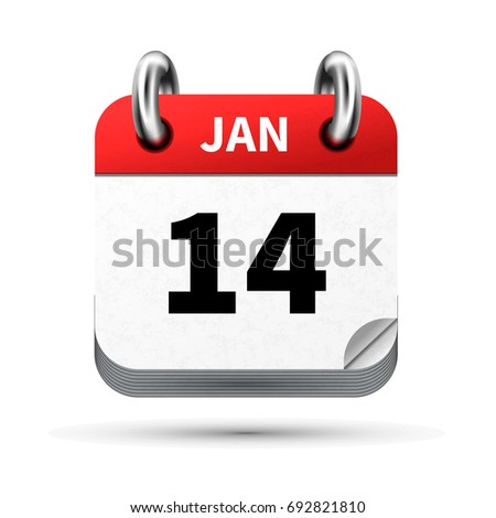 Bright realistic icon of calendar with 14 january date isolated on white Stock photo © evgeny89