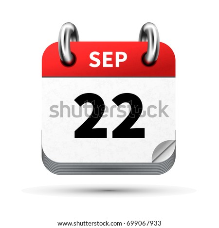 Brilhante realista ícone calendário 22 data Foto stock © evgeny89