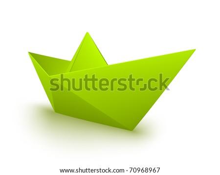 Groene origami papier boot 3D 3d render Stockfoto © djmilic