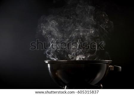 Metal barbecue caldo carbone top view Foto d'archivio © karandaev