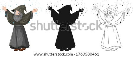 Old wizard with spell in color and outline and silhouette cartoo Stock photo © bluering