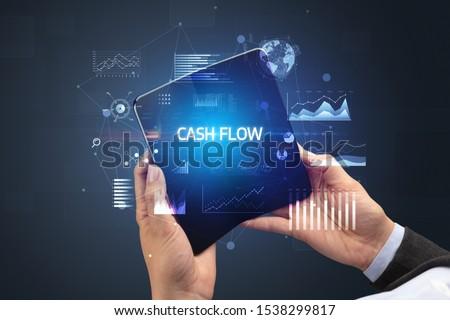 Zakenman smartphone opschrift nieuwe technologie Stockfoto © ra2studio