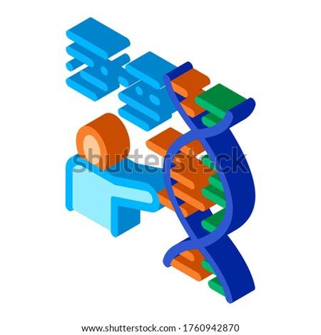Emberi genetika kutatás izometrikus ikon vektor Stock fotó © pikepicture