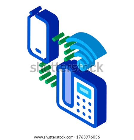 Smartphone and Home Telephone Wi-Fi Connection isometric icon vector illustration Stock photo © pikepicture