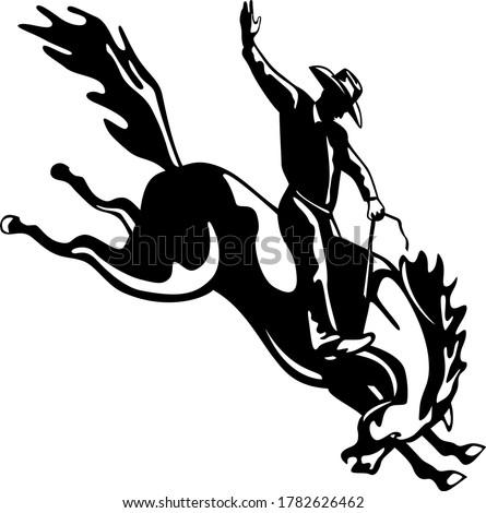 Rodeo cowboy jazda konna retro czarno białe w stylu retro Zdjęcia stock © patrimonio