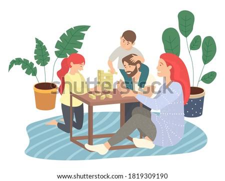 семьи играет игры сидят полу ковер Сток-фото © robuart