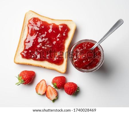 Strawberry jam and fresh strawberries Stock photo © almaje