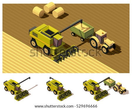 Harvester Machine isometric icon vector illustration Stock photo © pikepicture