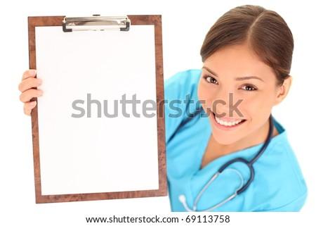 femenino · médico · portapapeles · aislado · blanco - foto stock © Nobilior