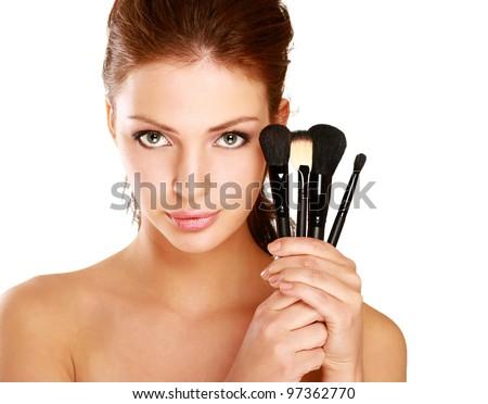 Portré gyönyörű nő sminkecset arc néz kamera Stock fotó © HASLOO